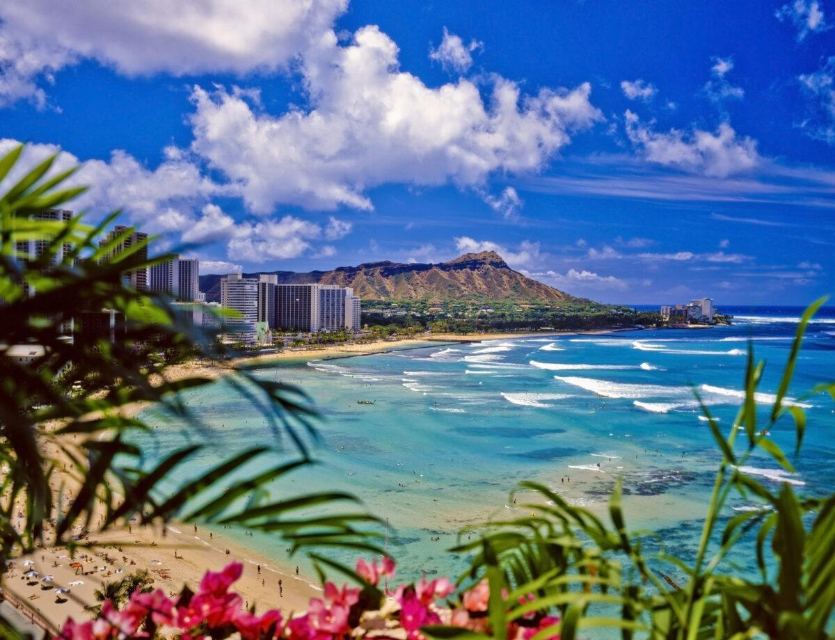 Waikiki Beach with Diamon Head in the distance