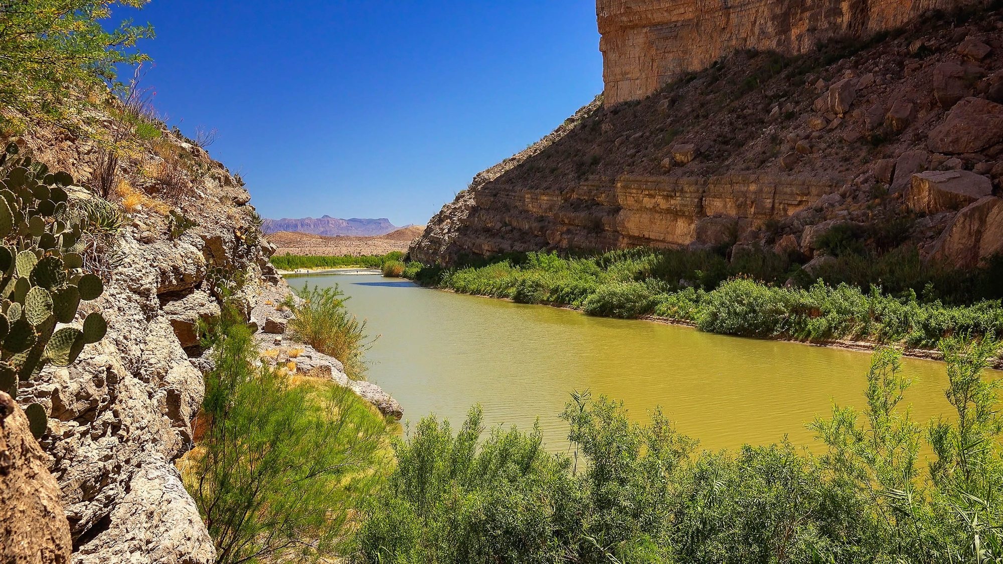 Rio Grande river flowing through Santa Elena Canyon in Big Bend National Park