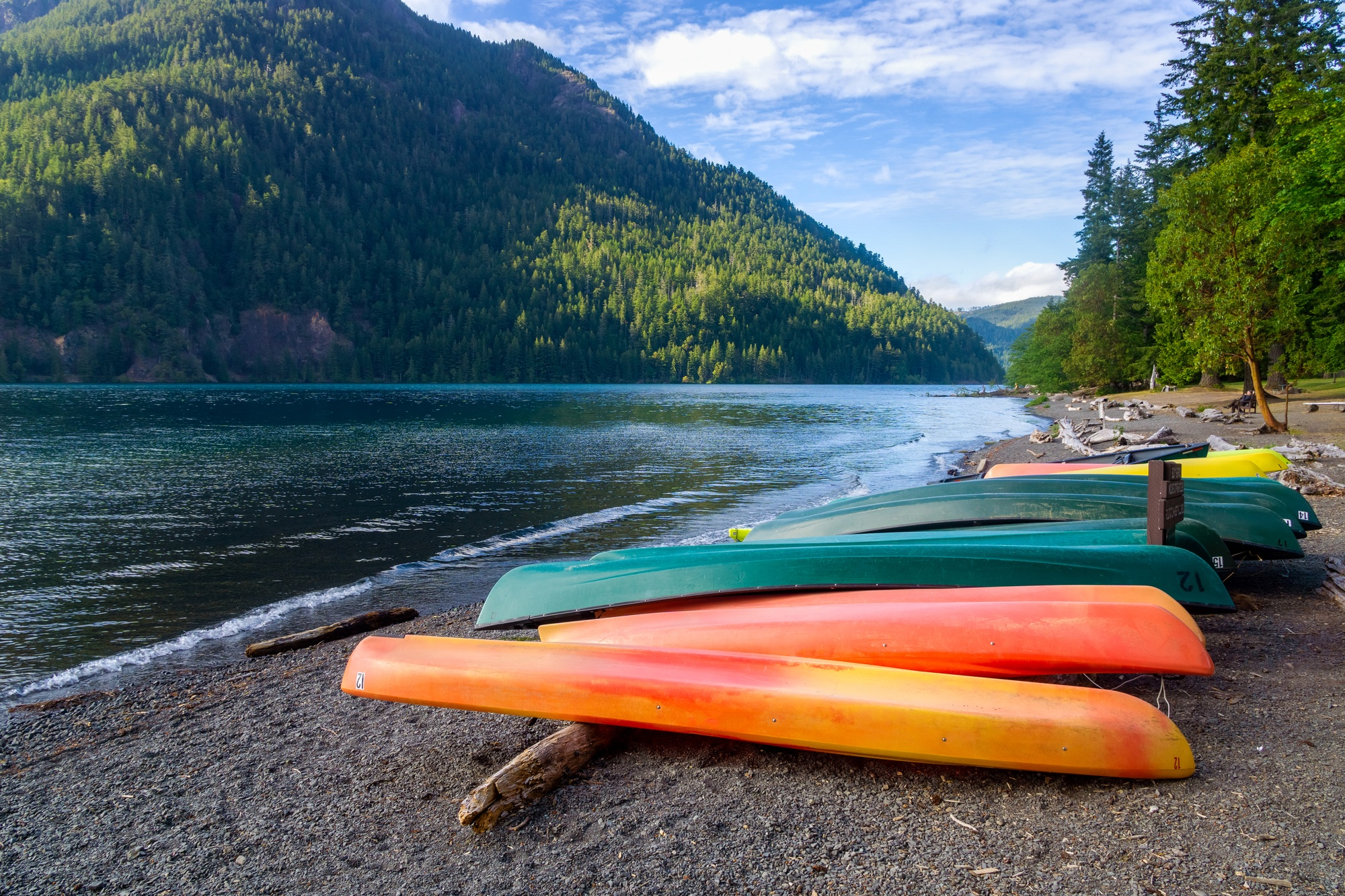 Kayaks on the shore of Lake Crescent