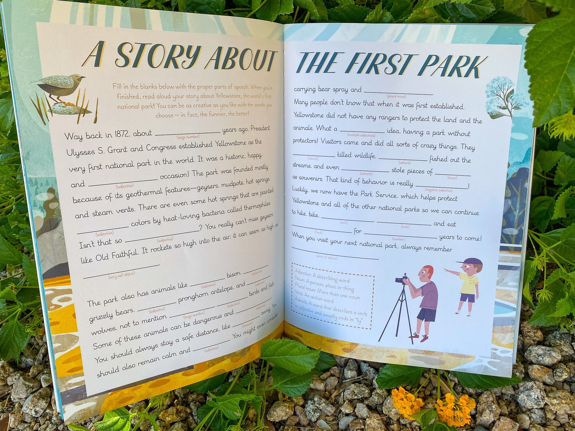"""A fill-in-the-blanks story about Yellowstone in the """"National Parks of the USA Activity Book"""""""